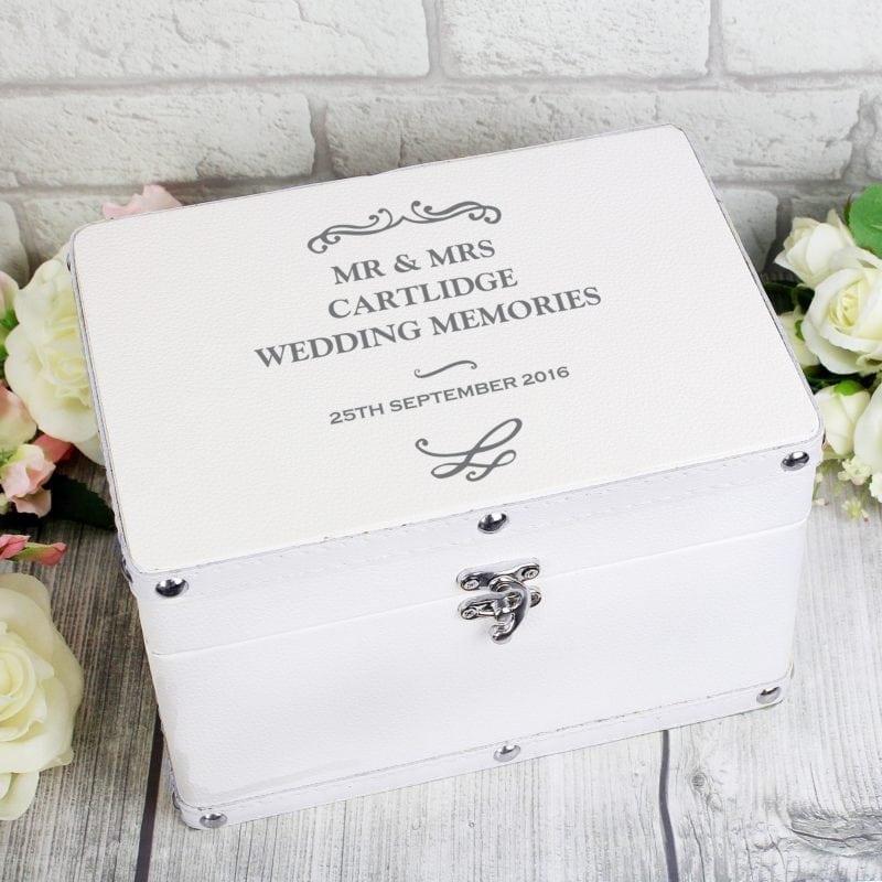 Personalised Antique Scroll White Leatherette Keepsake Box