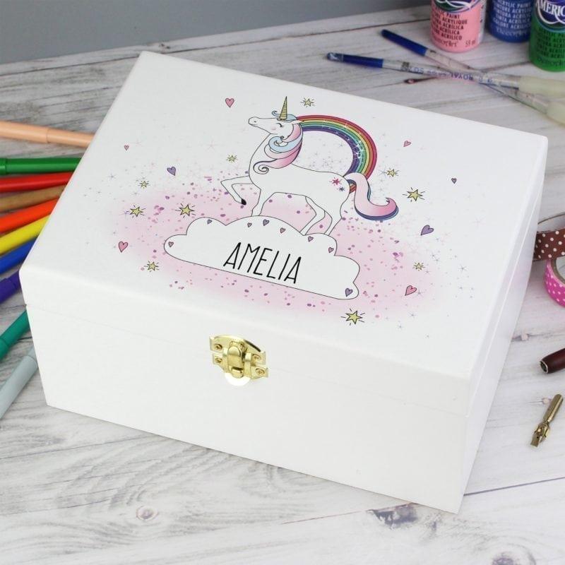 Personalised Unicorn White Wooden Keepsake Box