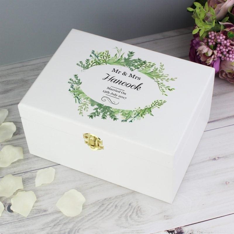 Personalised Fresh Botanical White Wooden Keepsake Box