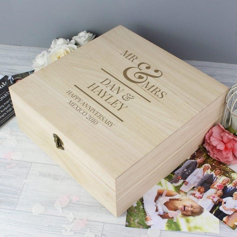 Personalised Mr & Mrs Large Wooden Keepsake Box