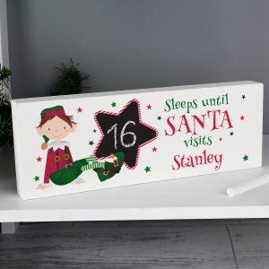 Elf Christmas Chalk Countdown Wooden Block