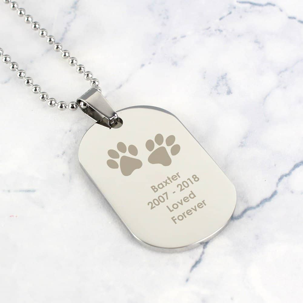 Pawprints Stainless Steel Dog Tag Necklace