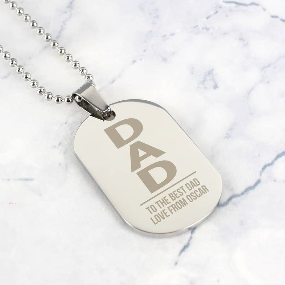 Dad Stainless Steel Dog Tag Necklace