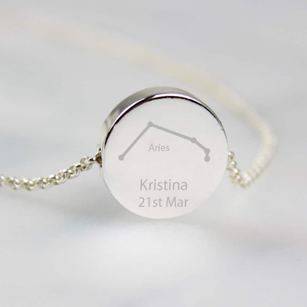 Aries Zodiac Star Sign Silver Tone Necklace (March 21st-April 19th)