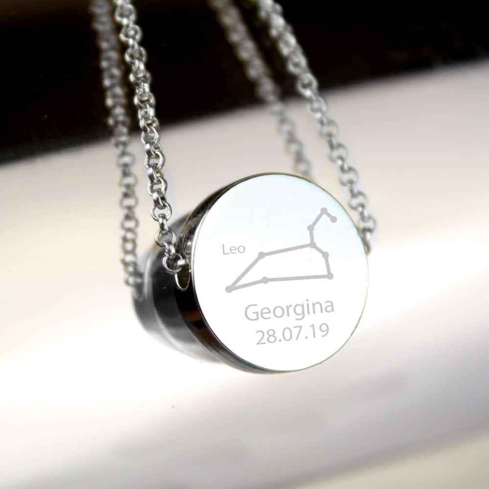 Leo Zodiac Star Sign Silver Tone Necklace (July 23rd - August 22nd)