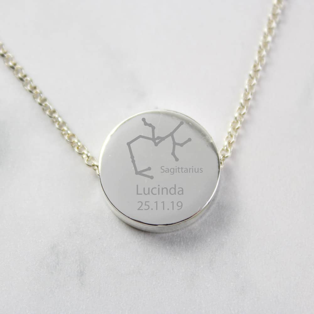 Sagittarius Zodiac Star Sign Silver Tone Necklace (November 22nd - December 21st)
