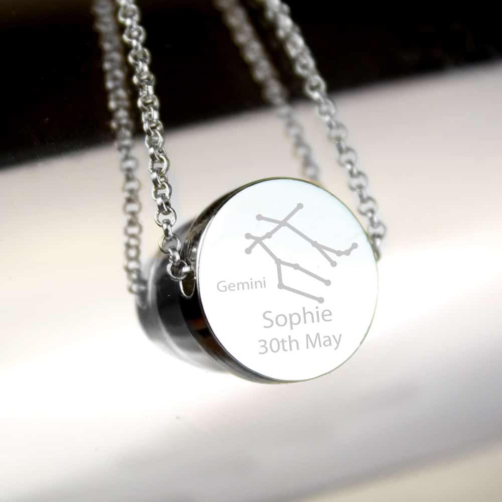 Gemini Zodiac Star Sign Silver Tone Necklace (May 21st - June 20th)