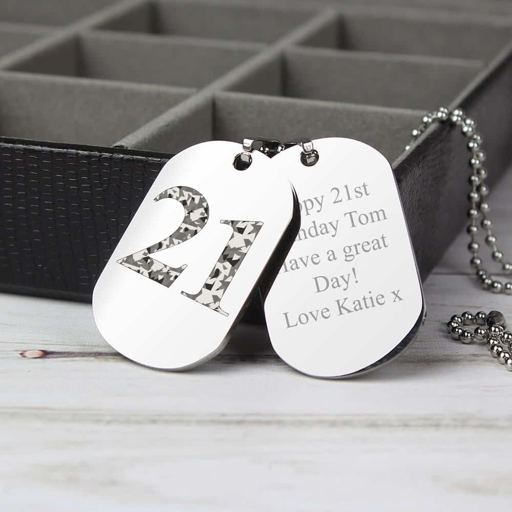 Camouflage Age Stainless Steel Double Dog Tag Necklace