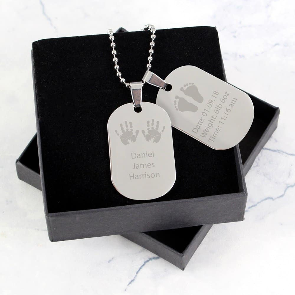 Hands and Feet New Baby Stainless Steel Double Dog Tag Necklace