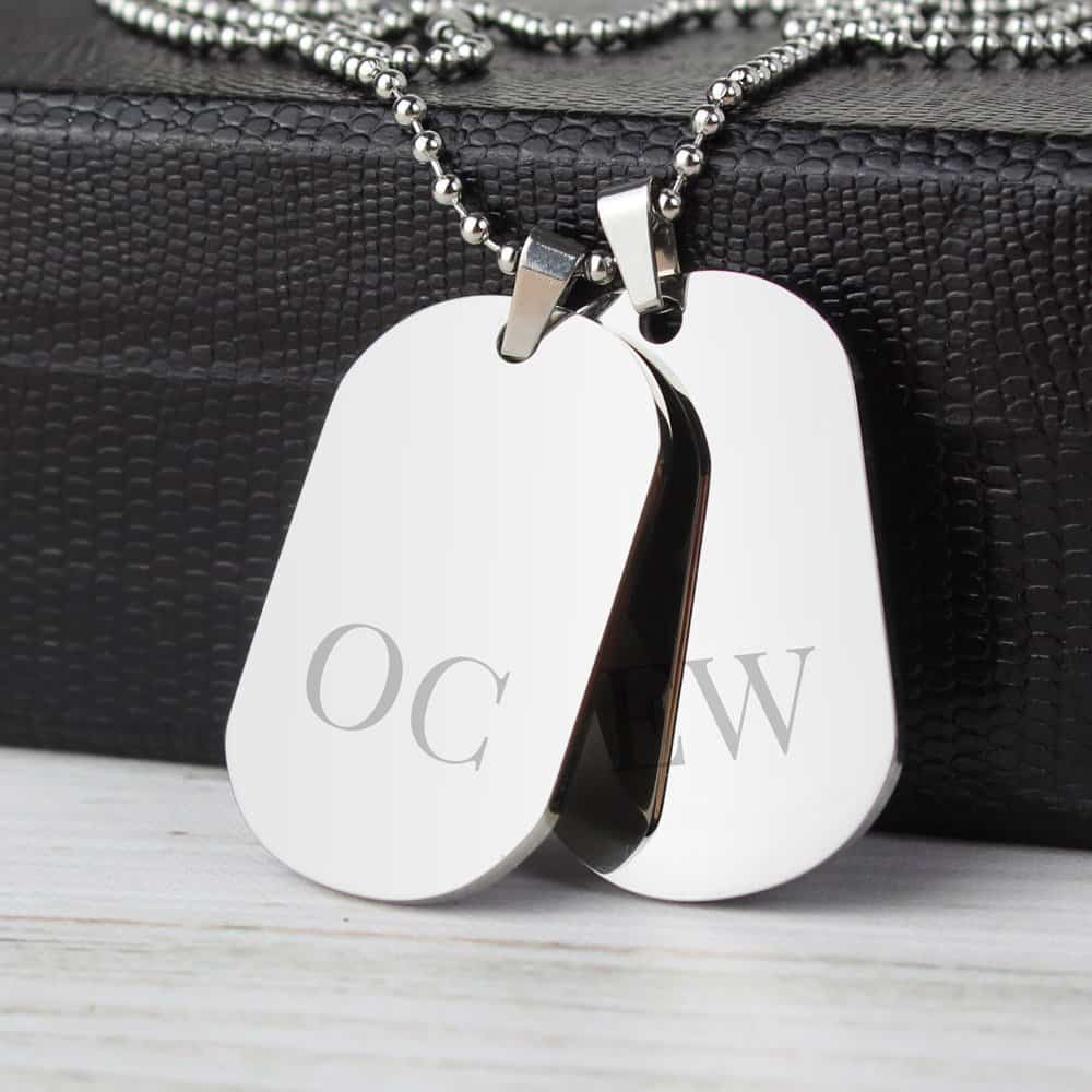 Big Initials Stainless Steel Double Dog Tag Necklace