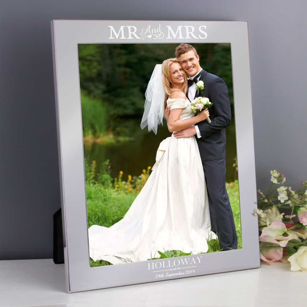 Mr & Mrs 10x8 Silver Photo Frame