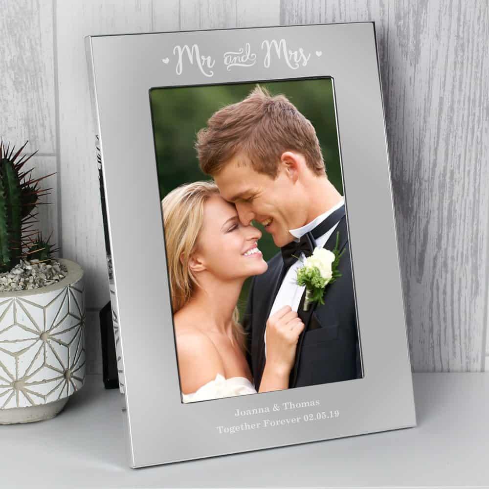 Mr & Mrs 6x4 Silver Photo Frame