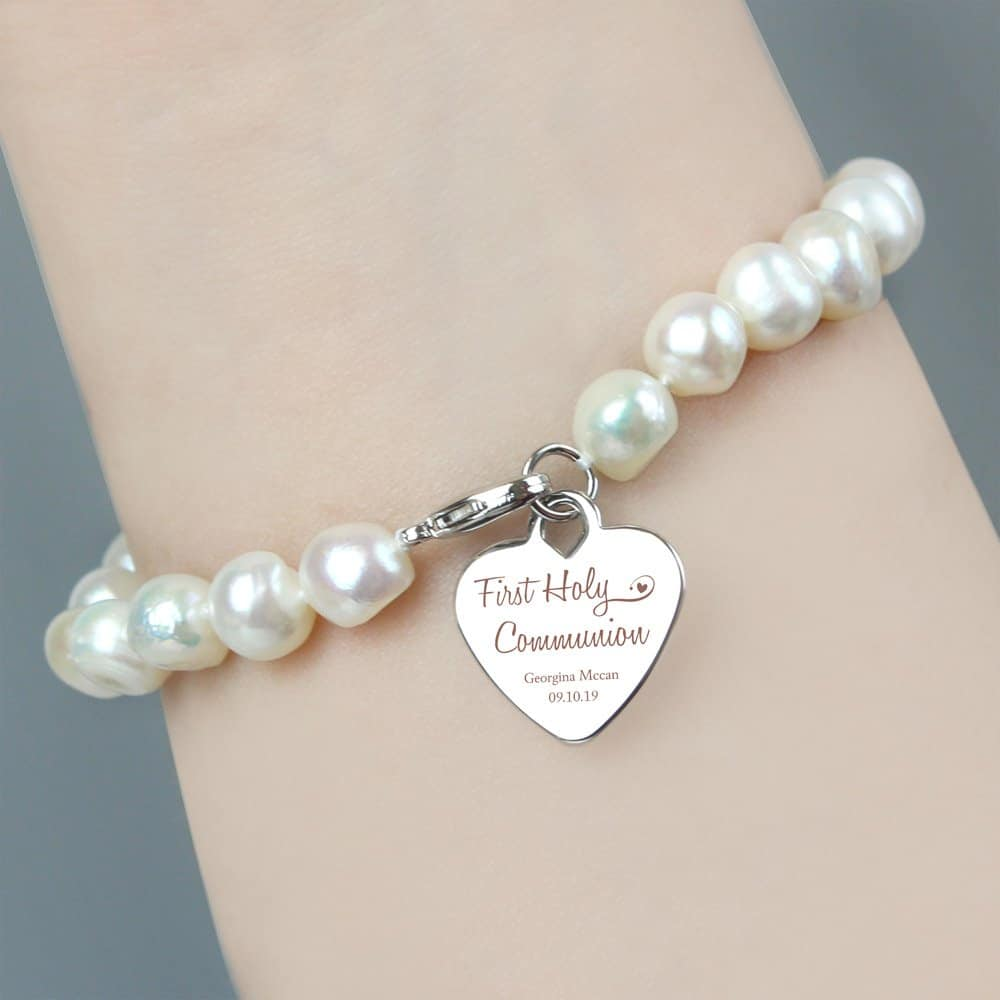 First Holy Communion Swirls & Hearts White Freshwater Pearl Bracelet
