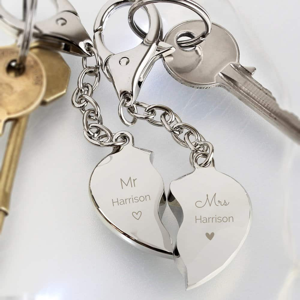 Mr & Mrs Two Hearts Keyring