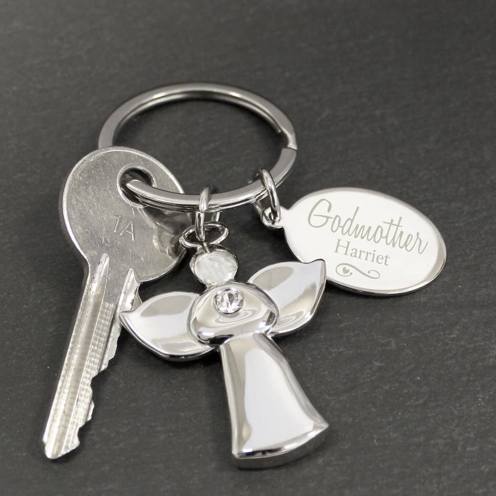 Silver Plated Swirls & Hearts Godmother Angel Keyring