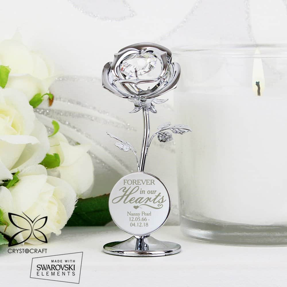 Forever in Our Hearts Crystocraft Rose Ornament