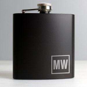 Initials Black Hip Flask