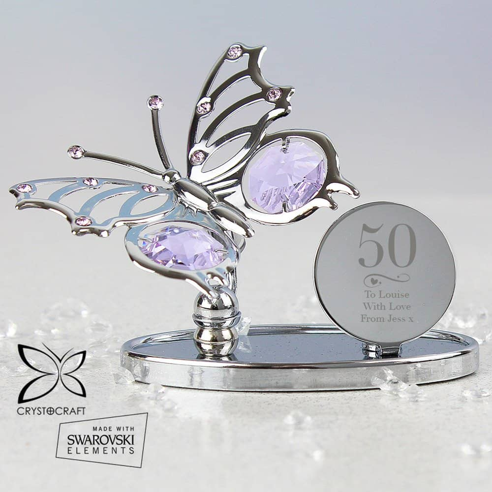 Swirls & Hearts Birthday Crystocraft Butterfly