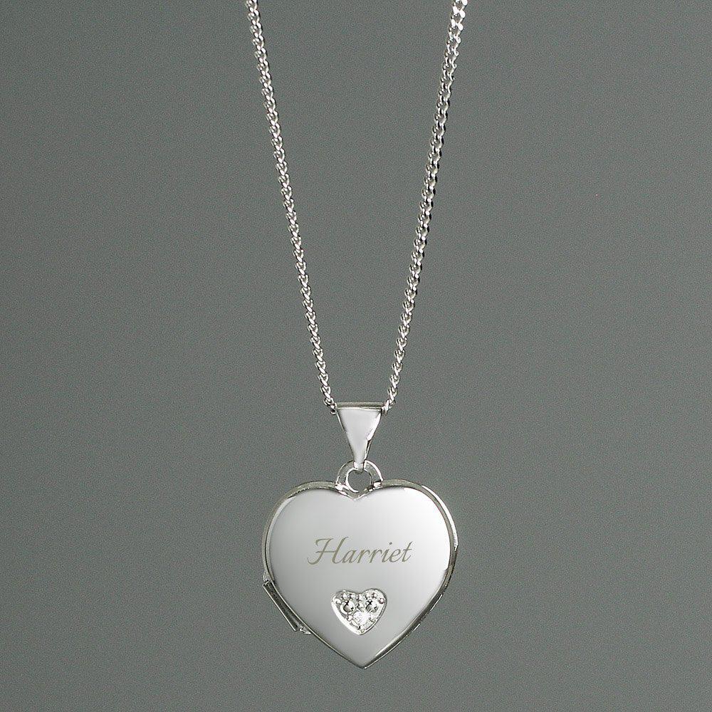 Children's Sterling Silver & Cubic Zirconia Heart Locket Necklace