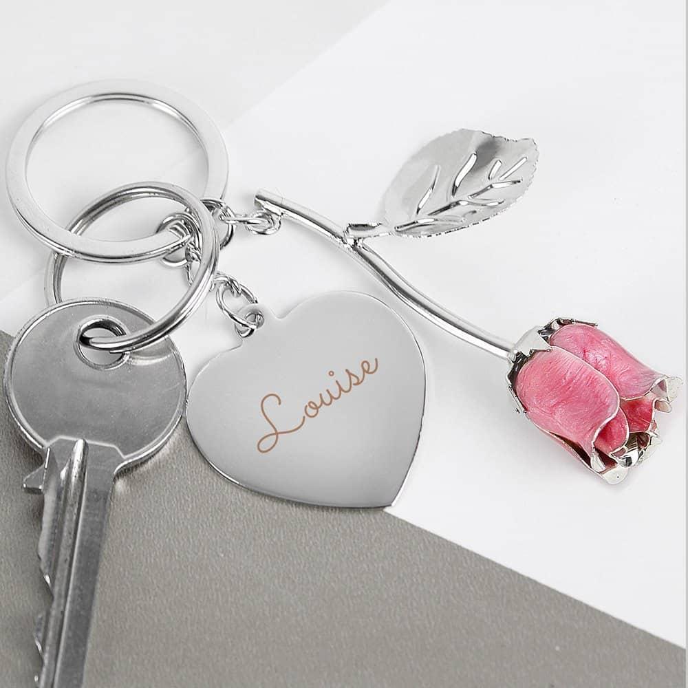 Silver Plated Name Pink Rose Keyring