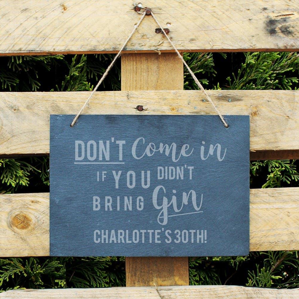 Gin Large Hanging Slate Sign