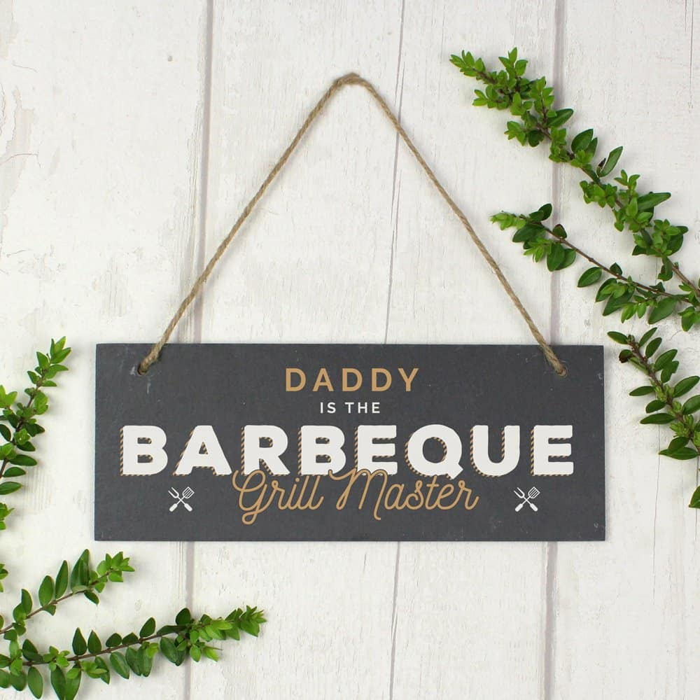"""""""""""Barbeque Grill Master"""""""" Printed Hanging Slate Plaque"""