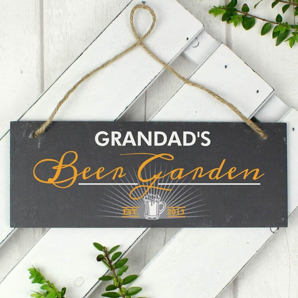 """""""""""Beer Garden"""""""" Printed Hanging Slate Plaque"""