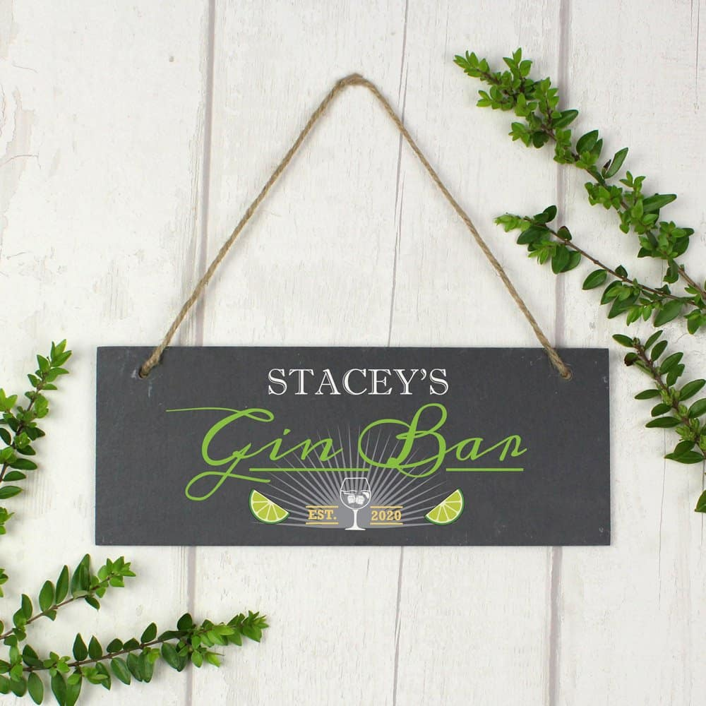 """""Gin Bar"""" Printed Hanging Slate Plaque"