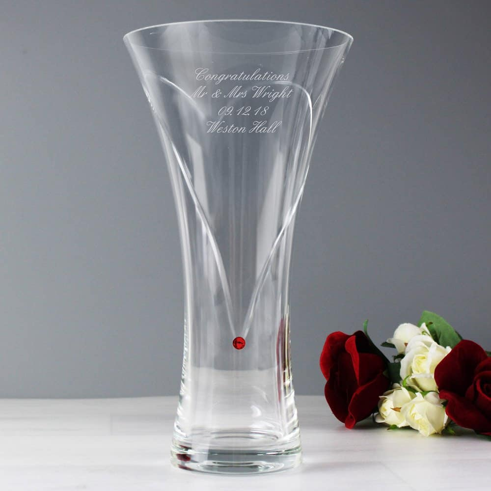 Large Hand Cut Ruby Diamante Heart Vase with Swarovski Elements