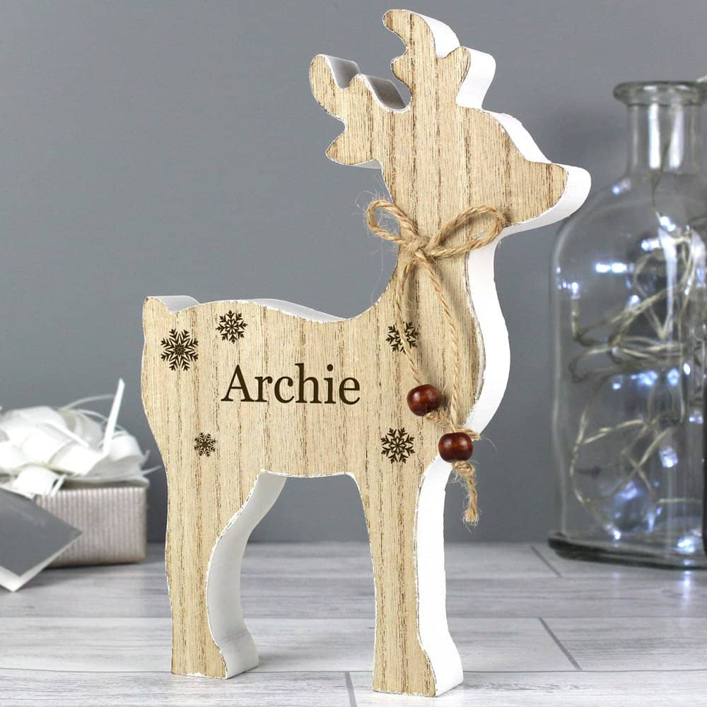 Any Name Rustic Wooden Reindeer Decoration