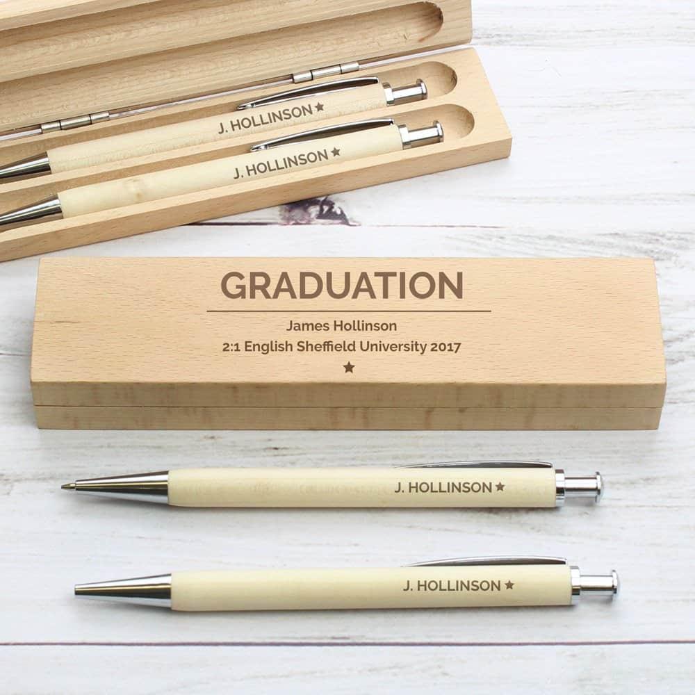 Classic Wooden Pen & Pencil Box Set