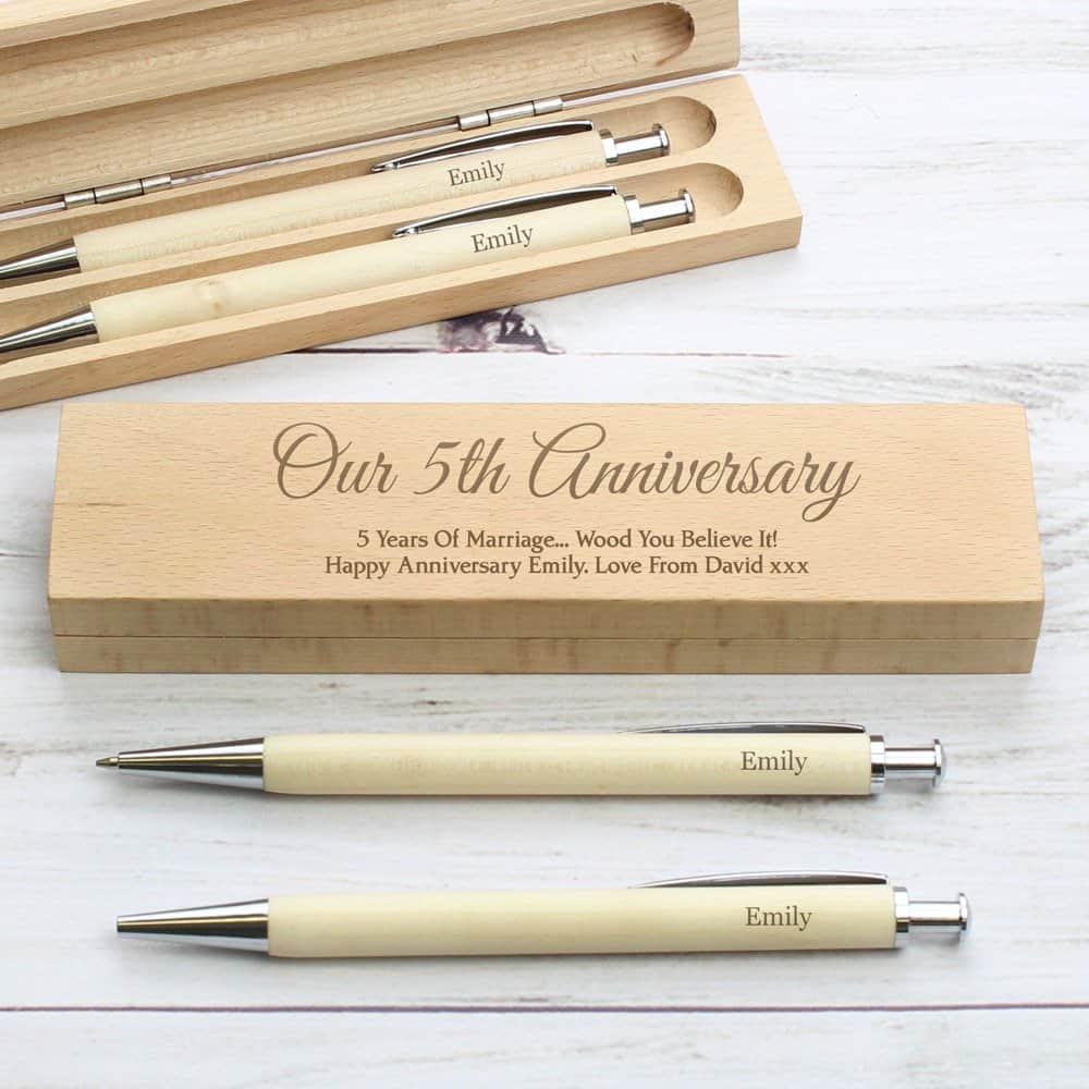 Any Message Wooden Pen & Pencil Box Set