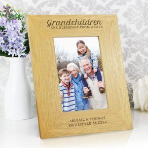 Oak Finish 'Grandchildren are a Blessing' 4x6 Photo Frame