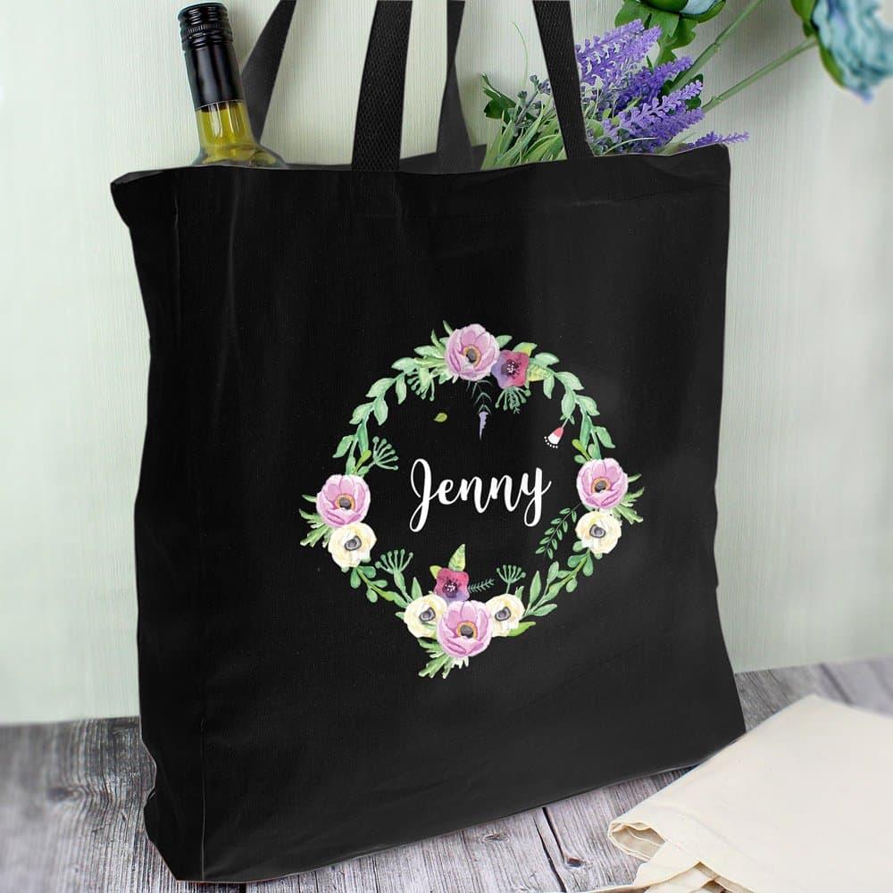 Floral Black Cotton Bag