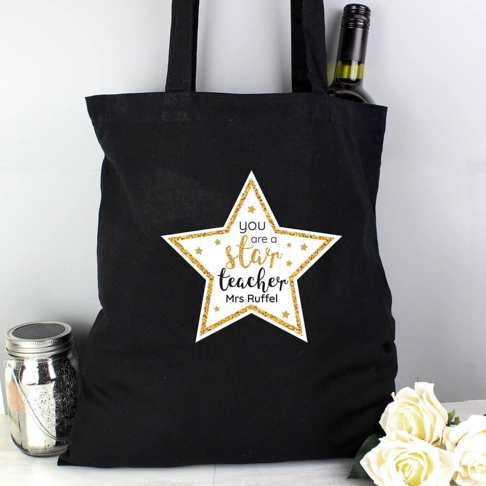 Star Teacher Black Cotton Bag