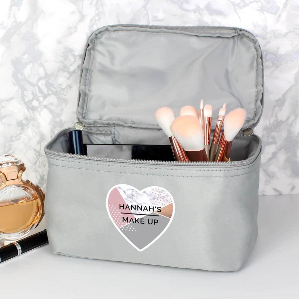 Geometric Grey Make Up Wash Bag