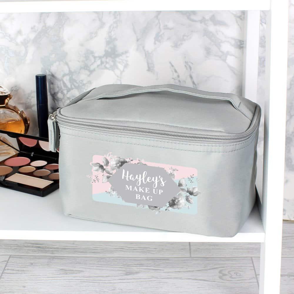 Floral Grey Make Up Wash Bag