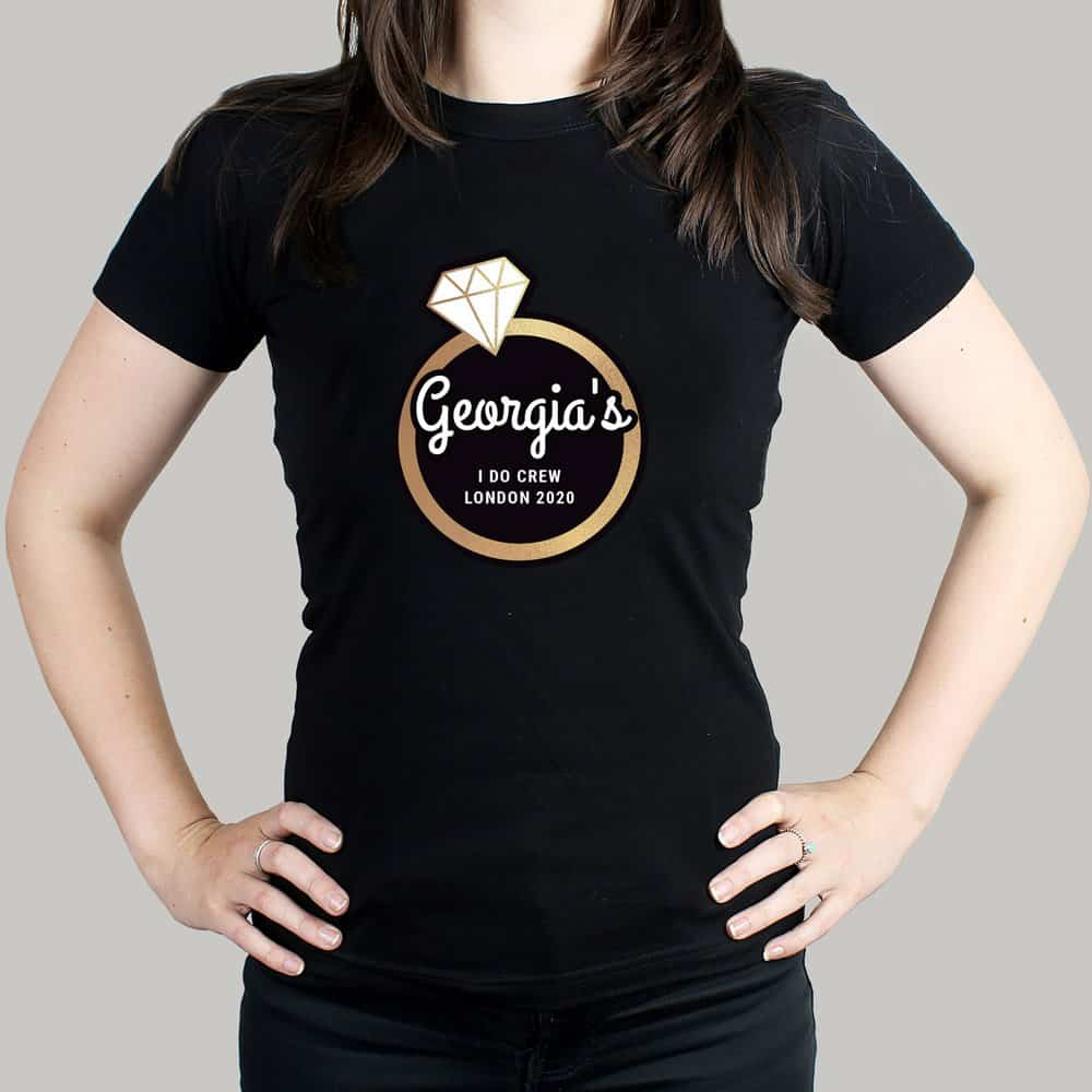 Gold Bling Ring Hen Party T-Shirt - Black Small