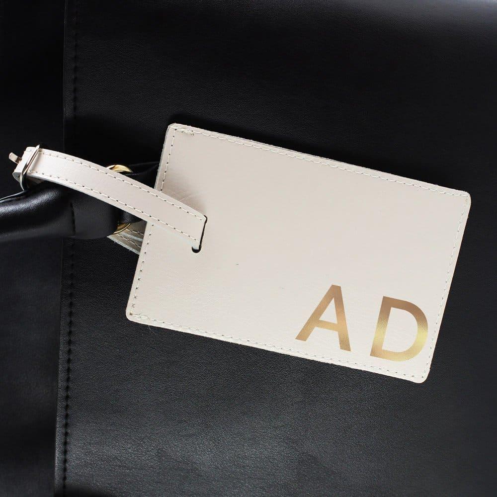 Gold Initials Cream Luggage Tag
