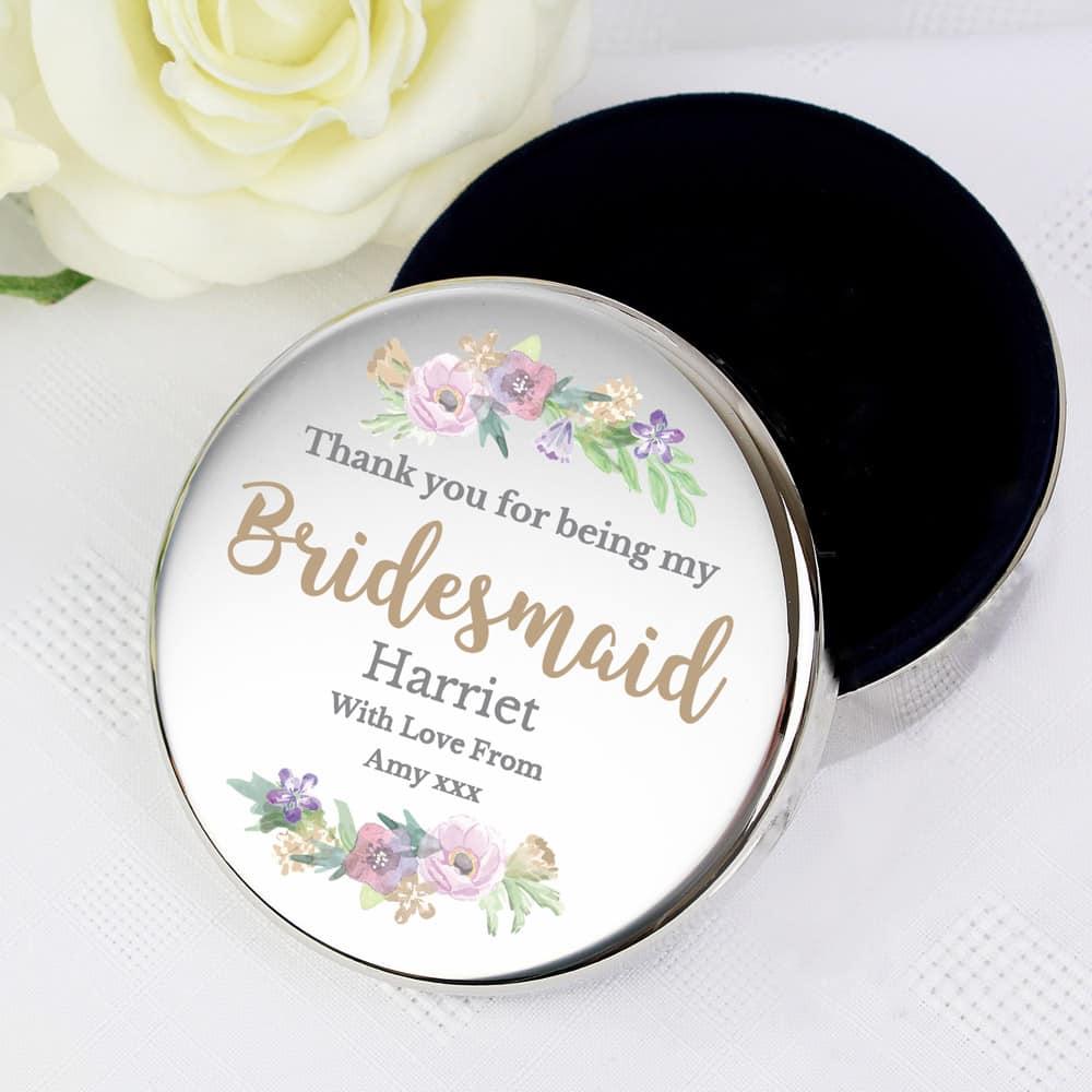 Bridesmaid 'Floral Watercolour Wedding' Round Trinket Box