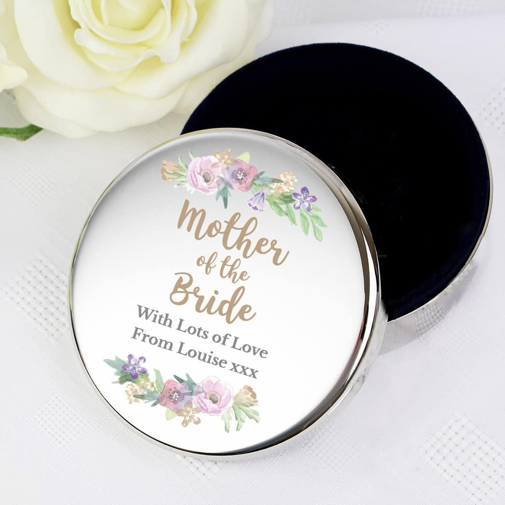 Mother of the Bride 'Floral Watercolour Wedding' Round Trinket Box