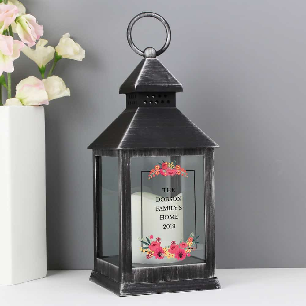 Floral Rustic Black Lantern
