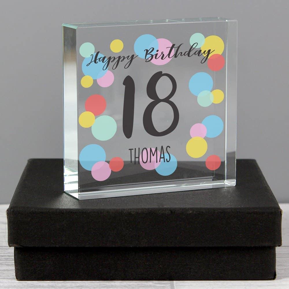 Birthday Colour Confetti Large Crystal Token