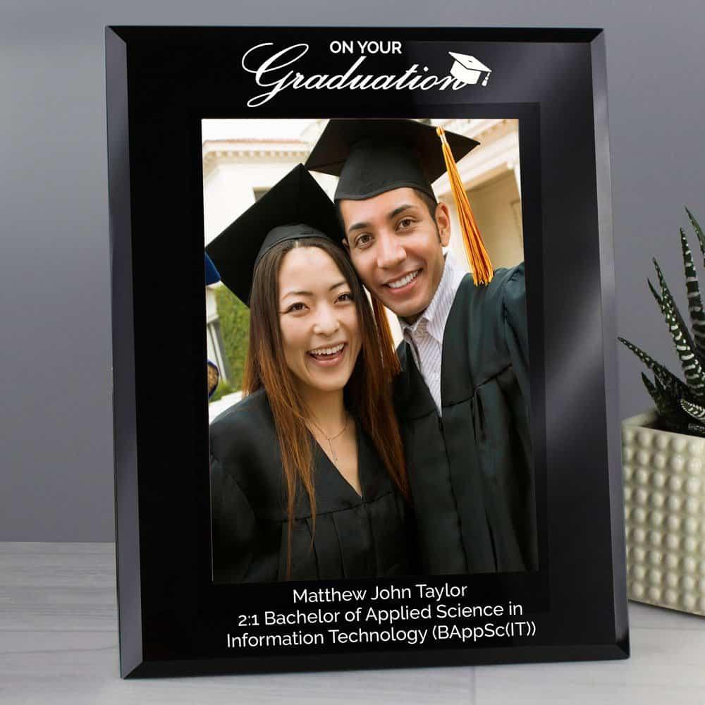 Graduation Black Glass 7x5 Photo Frame