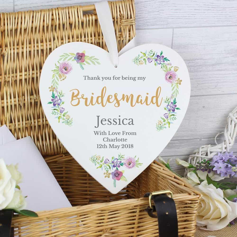 Bridesmaid 'Floral Watercolour Wedding' 22cm Large Wooden Heart Decoration
