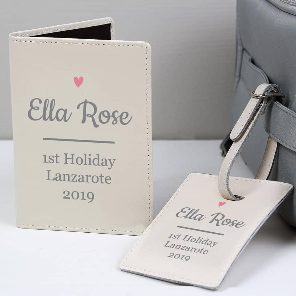 Pink Heart Cream Passport Holder & Luggage Tag Set