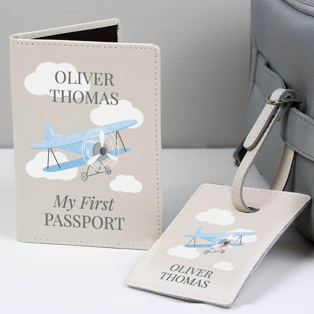 Blue Plane Passport Holder & Luggage Tag Set