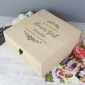 Any Role 'Floral Watercolour Wedding' Large Wooden Keepsake Box