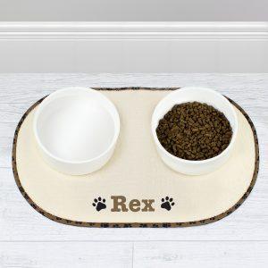 Brown Paw Print Pet Bowl Placemat