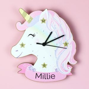 Unicorn Shape Wooden Clock